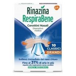 Rinazina RespiraBene Cerotti Nasali Classici Grandi per Naso Chiuso 10 Pezzi