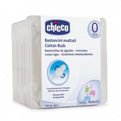Chicco Bastoncini ovattati per l'igiene delle orecchie del bambino 64 pezzi
