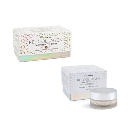 Re-Collagen Integratore + Crema - Trattamento Viso Completo Antietà In&Out al Collagene