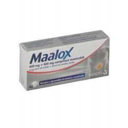Maalox 40 compresse masticabili contro acidità di stomaco 400 mg + 400 mg