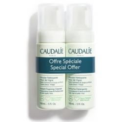 Caudalie Bipacco Vinoclean Schiuma Mousse detergente viso senza sapone Fleur de Vigne 1+1