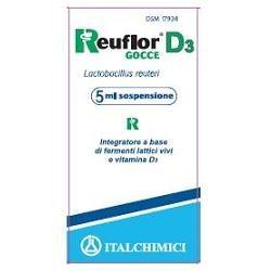 Reuflor D3 Gocce 5 ml - Integratore di Fermenti Lattici Vivi e Vitamina D3