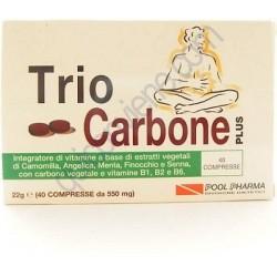 TrioCarbone Plus 40 Compresse - Integratore Contro il Gonfiore Intestinale