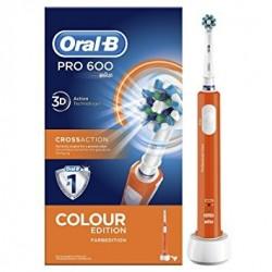 Oral B PRO 600 CrossAction Spazzolino Elettrico Ricaricabile Arancione