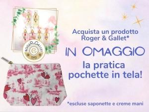 Ricevi in omaggio la pratica pochette in tela Roger & Gallet