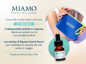 Miamo: pochette in neoprene con Pigment Serum in omaggio